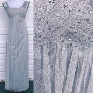 •BCBG PARIS•EUC Metallic Silver Empire Waist Gown